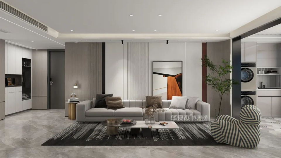 品牌丨华夏杰200㎡现代风大平层装修,让人一眼就爱上的设计
